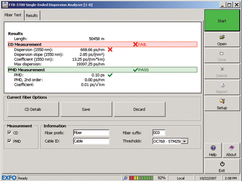 EXFO FTB-5700 : Модуль одностороннего анализатора ХД и ПМД